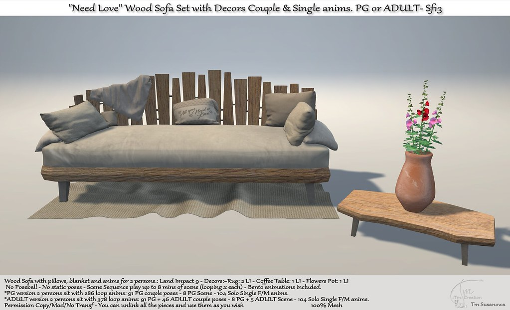 ".:Tm:.Creation ""Need Love"" Wood Sofa Set with Decors Sf13"