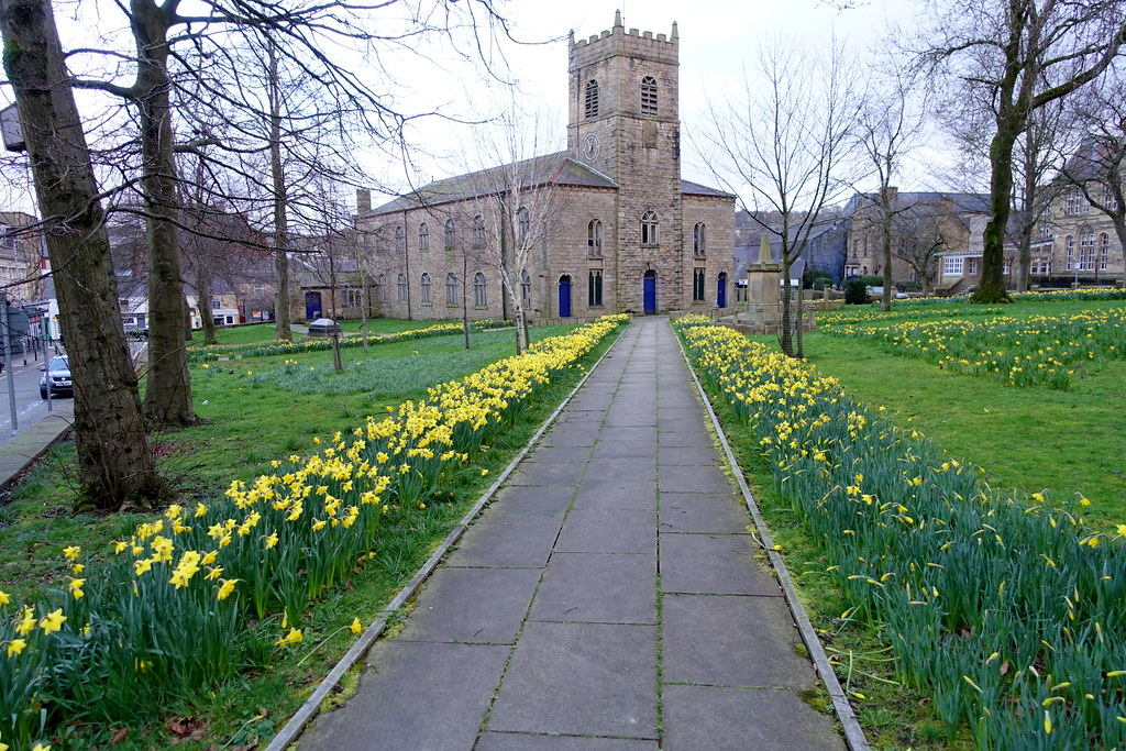 Yellow lined path at a church in Accrington - Explored