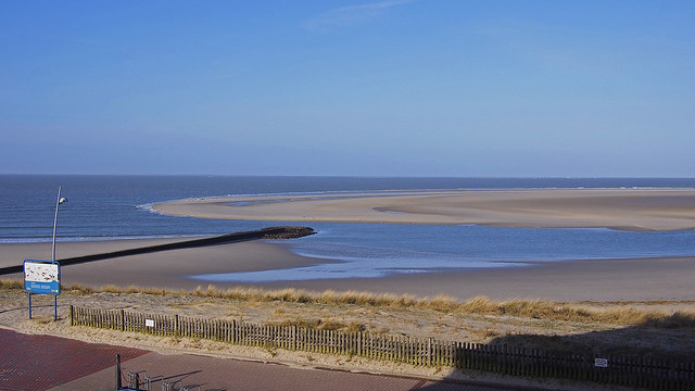 Borkum island main beach after the storm at low tide