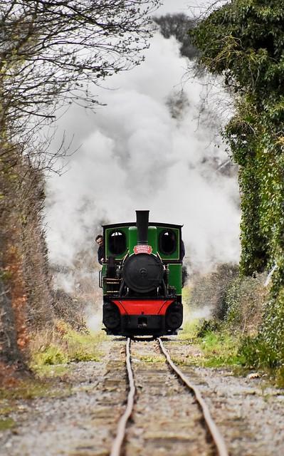 O&K Pedemoura on the ascent to Vandyke, Leighton Buzzard Narrow Gauge Railway.