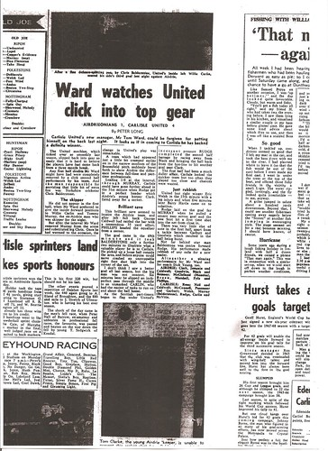 Airdrieonians V Carlisle United 4-8-1967 Match Report | by cumbriangroundhopper