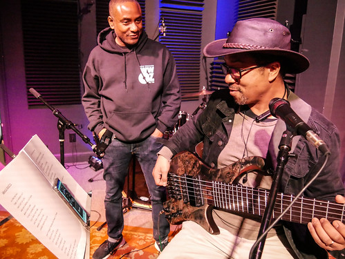 Damond Jacob and Roland Guerin at WWOZ - March 13, 2020. Photo by Katherine Johnson.