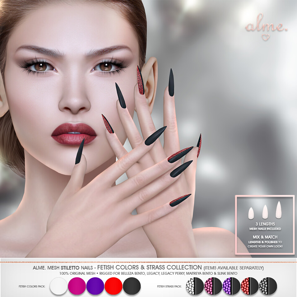"Alme for Fetish Fair – """"Alme Mesh Stiletto nails//Fetish Colors & Strass Collection"" ♥"