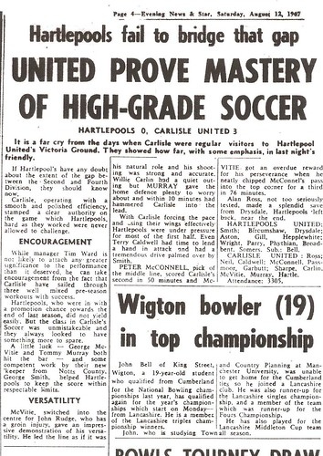 Hartlepools United V Carlisle United 11-8-1967 Match Report | by cumbriangroundhopper