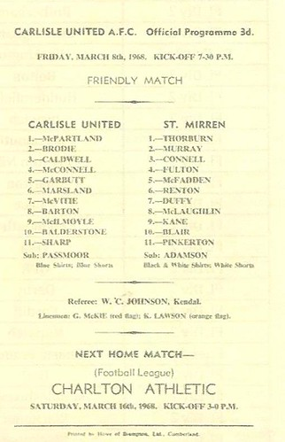 Carlisle United V St Mirren 6-3-1968 | by cumbriangroundhopper