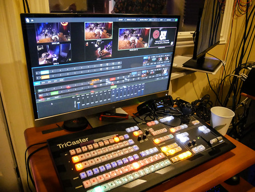 The video team's trusty Tricaster at WWOZ - March 13, 2020. Photo by Katherine Johnson.
