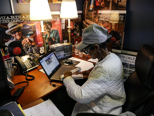 Dee Lindsey at WWOZ - March 13, 2020. Photo by Katherine Johnson.