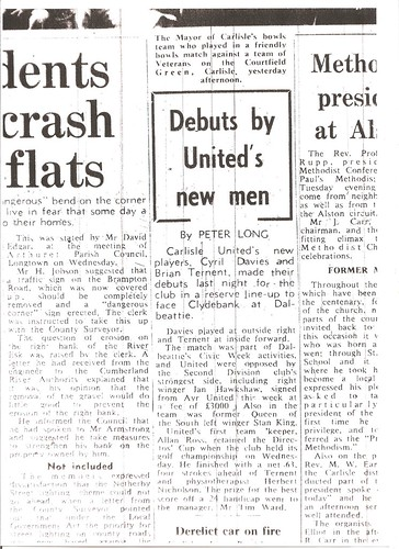 Carlisle United V Clydebank 1-8-1968 Match Report | by cumbriangroundhopper