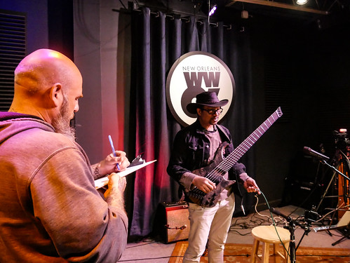 Murf Reeves and Roland Guerin at WWOZ - March 13, 2020. Photo by Katherine Johnson.