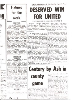Chesterfield V Carlisle United 1-8-1968 Match Report | by cumbriangroundhopper