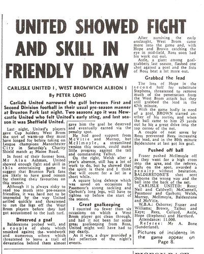 Carlisle United V West Bromwich Albion 30-7-1968 Match Report | by cumbriangroundhopper