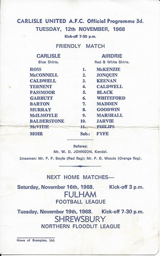 Carlisle United V Airdrie 12-11-1968 | by cumbriangroundhopper