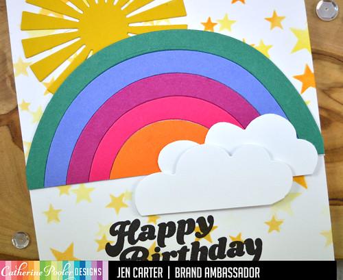 Over the Rainbow Star Stencil Sunburst Retro Bday JDC Closeup