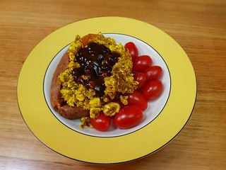 Scrambled CFS tofu with sweet potato, avocado, BBQ sauce