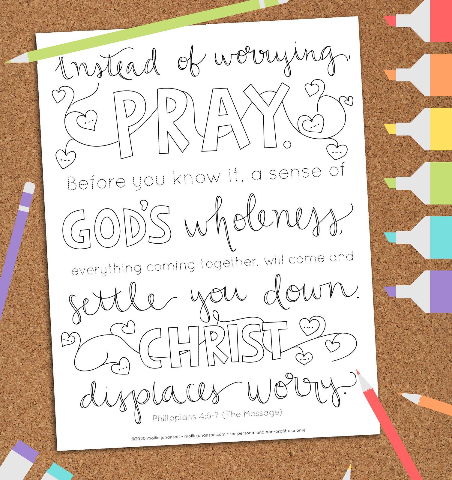 Philippians 4:6-7 Coloring Picture