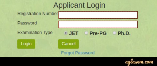 Applicant Login to Download Rajasthan JET 2020 Admit Card