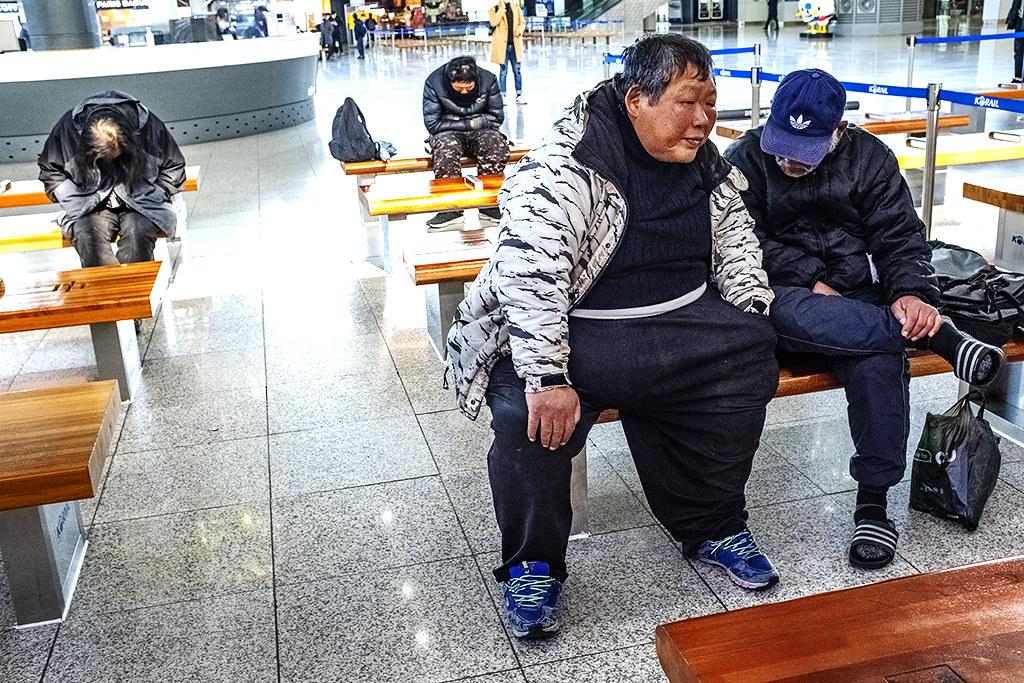 Homeless men at Busan Station on 3-16-20--Busan