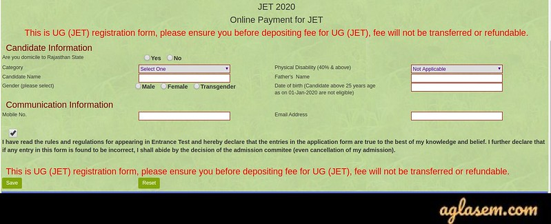 Rajasthan JET 2020 Application Form