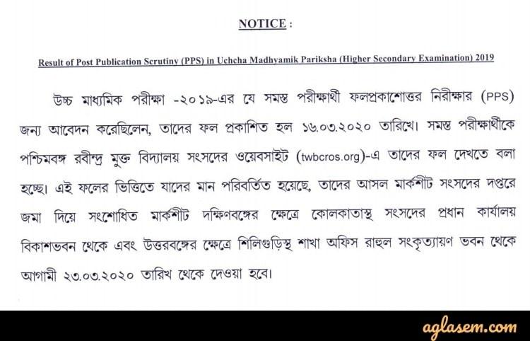 Rabindra Open Schooling HS Scrutiny Result Dec 2019