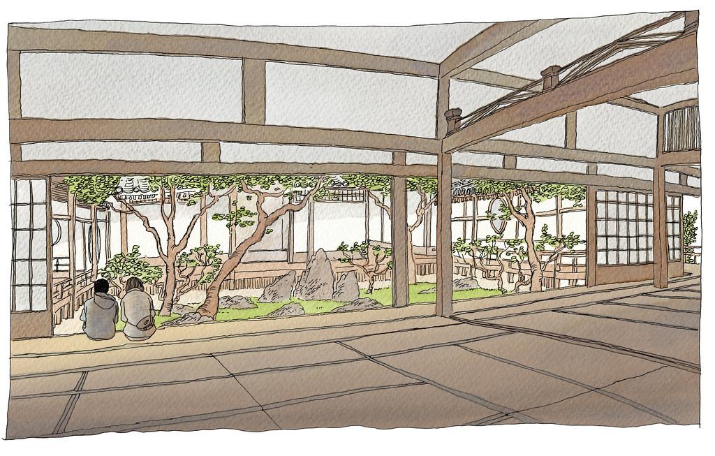 Japan, Kyoto, Kennin-ji temple, zen rock garden