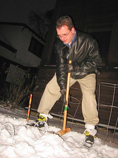 The Hammer wears plastic bag booties on Christmas Day snow, 2002 | by spudart
