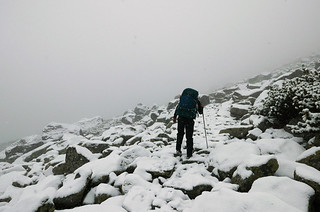 Walking on the snow covered Tatra Magistrale Trail