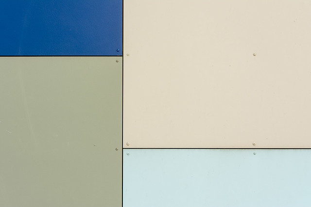 Blue, green and white panels