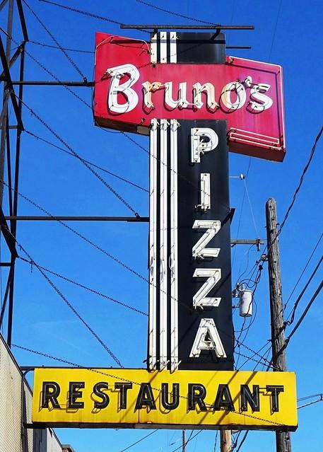 MI,  Kalamazoo-U.S. 12(Old)Bruno's Pizza Restaurant Neon Sign