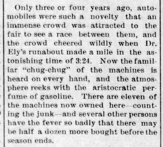 1907 - rise of automobiles - Enquirer - 8 Aug 1907