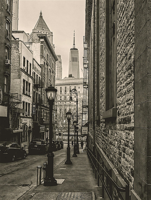 Perspective and View From Chinatown to World Trade Center Area NYC (between Mott and Worth Streets)