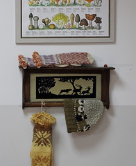 An old shelf made in 1941 with mushroom-dyed woolen clothes and Norwegian mycosociety posters