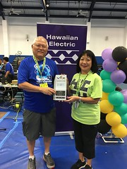 "Hawaiian Electric at the Hawaii State Middle School VEX IQ Championships — Feb. 29, 2020: President of Maui County and Hawaii Island Utilities Sharon Suzuki accepted the ""Partner of the Year"" award."