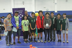 Hawaiian Electric at the Hawaii State Middle School VEX IQ Championships — Feb. 29, 2020: The Manoa Tech team smiled for a quick photo opportunity.
