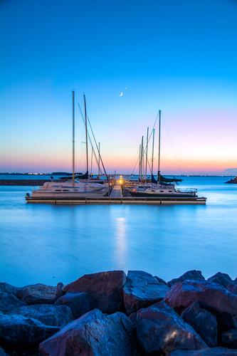 boats sunset lakehefner okc oklahomacity oklahoma lake night moon sky water docks weather photography