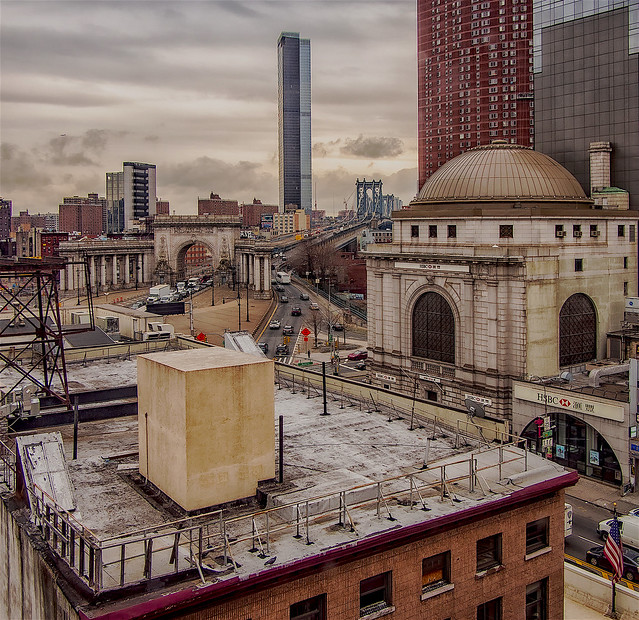 Panoramic View of Canal Street, Manhattan Bridge, and Architecture in Chinatown