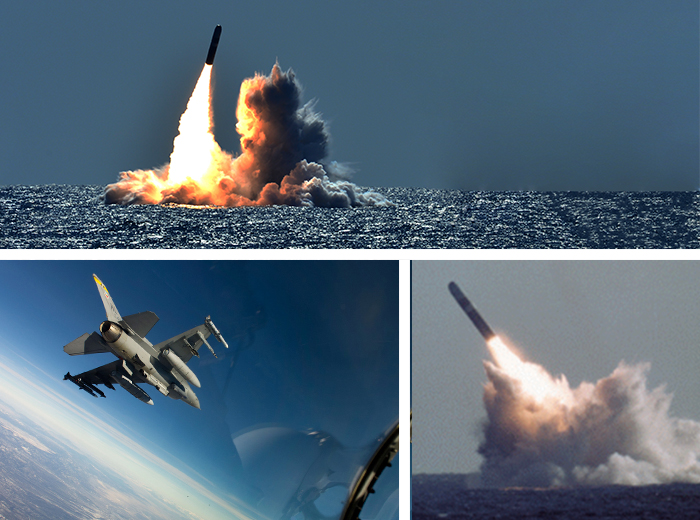 Two photos of missiles being launched from the sea and a third photo of a fighter jet in flight.