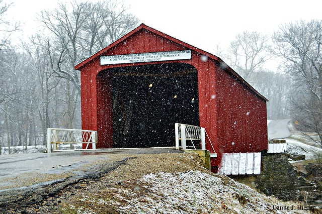 As The Snow Falls.  Red Covered Bridge In Princeton_ Illinois.   DSC_4233