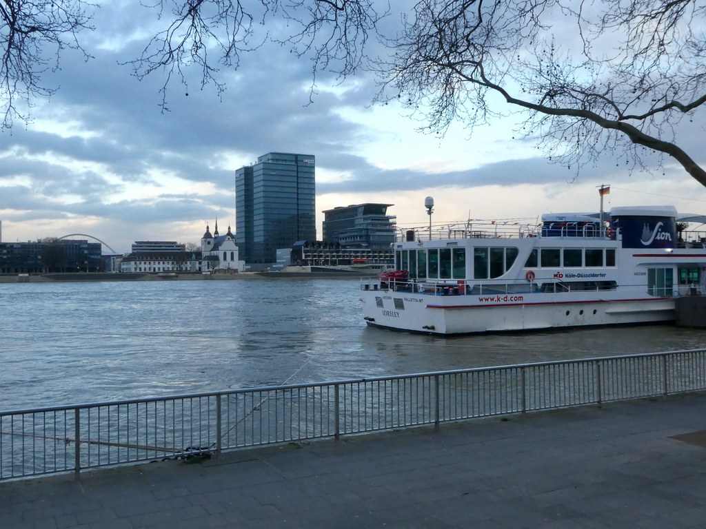 Pleasure boats along the quay in Cologne