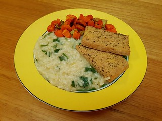 Light Savoury Baked Tofu; Parsley, Lemon, and Potato Risotto