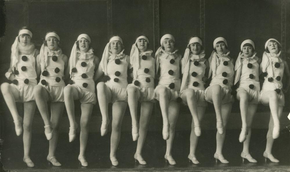 Group of dancers in clown costume performing in the original Wintergarten Pony Ballet Brisbane Queensland 1926