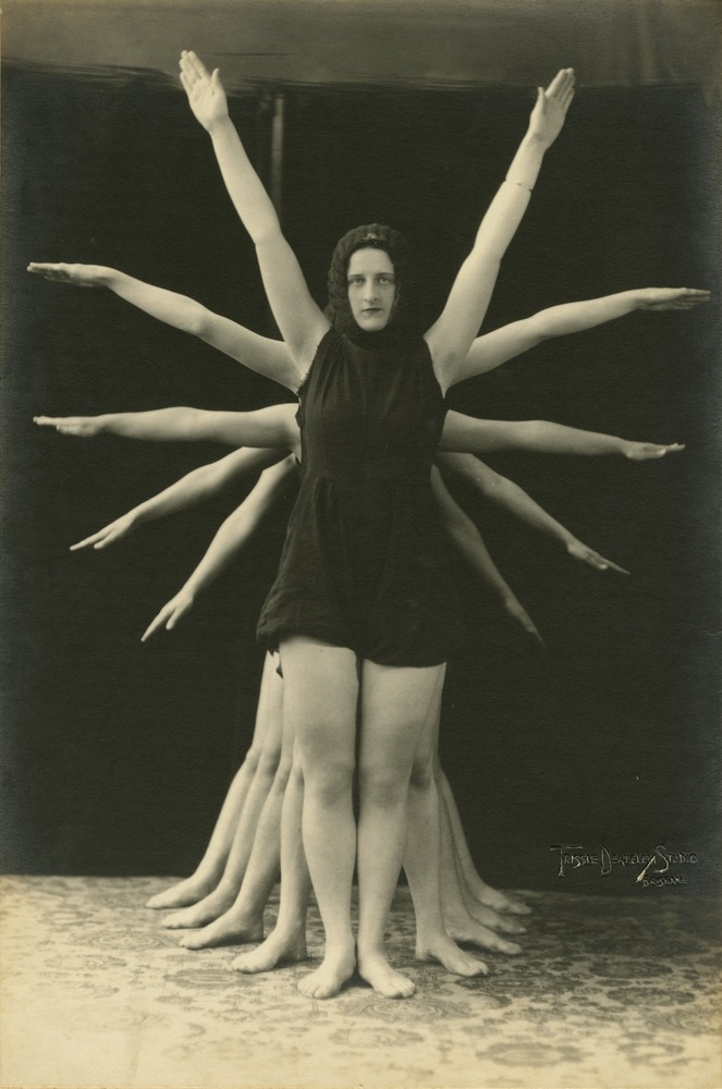Dancers striking a pose in the production Gymnastics Brisbane Queensland 1931