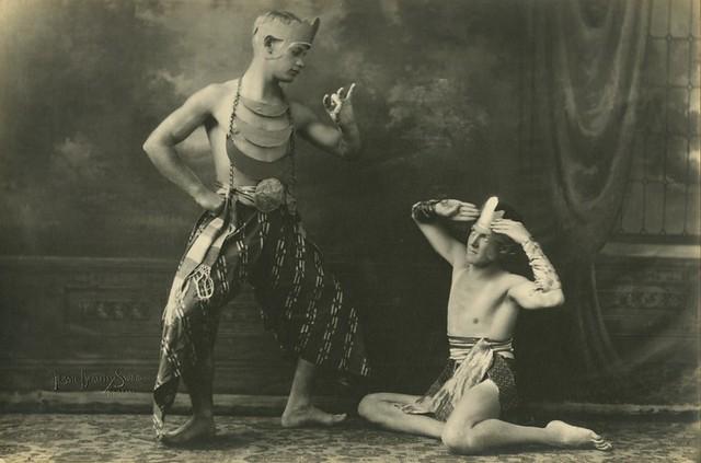 Dancers Budge Gill and Robert Henderson striking a pose in Javanese costume Brisbane Queensland 1931