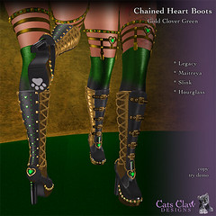 _CCD_ Chained Heart Boots-BlackRed-AD512