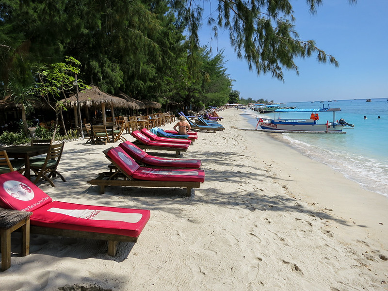 Beachfront of Gili Trawangan in busy part