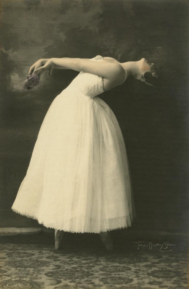 Ballet dancer Katharine Cook striking a pose Brisbane Queensland 1931