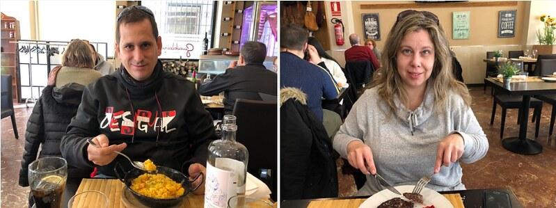 Sele y Rebeca comiendo en Teruel