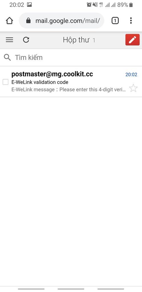 Mã xác thực được gửi vào hộp thư của Gmail