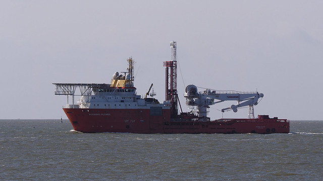 Offshore Supply Ship with helicopter deck and folded crane
