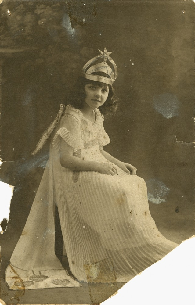 Young girl aged six in costume as Queen Lily Brisbane Queensland ca 1920s