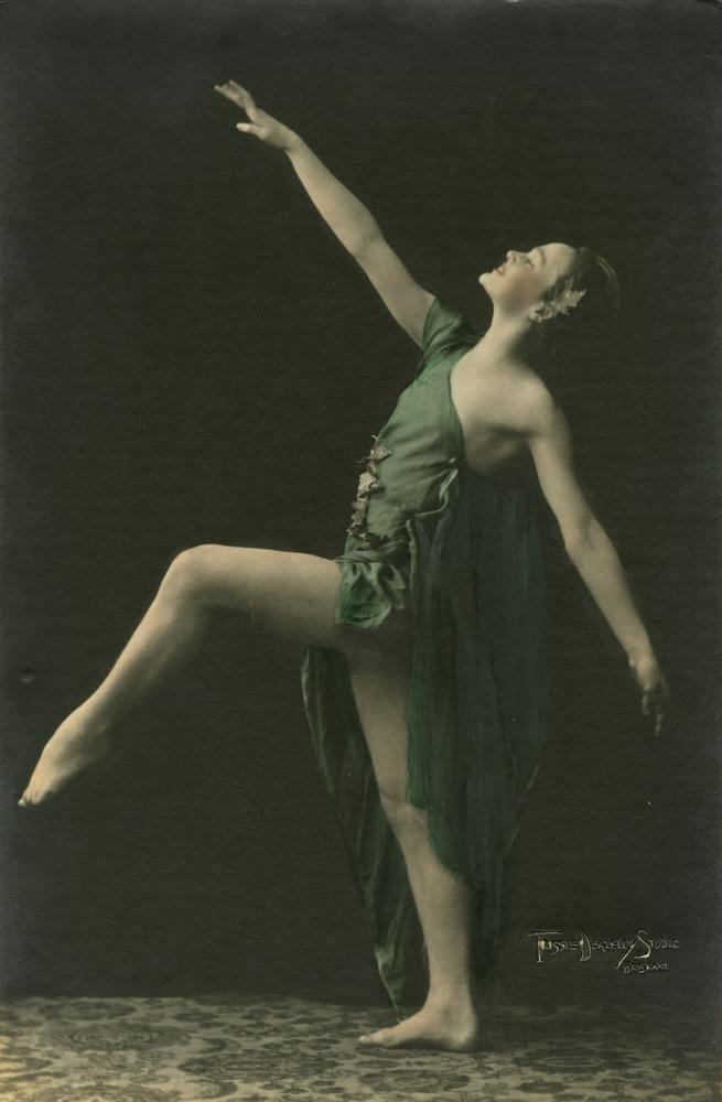 Judy Avery_Studio portrait of ballet dancer Judy Avery striking a pose Brisbane Queensland 1931